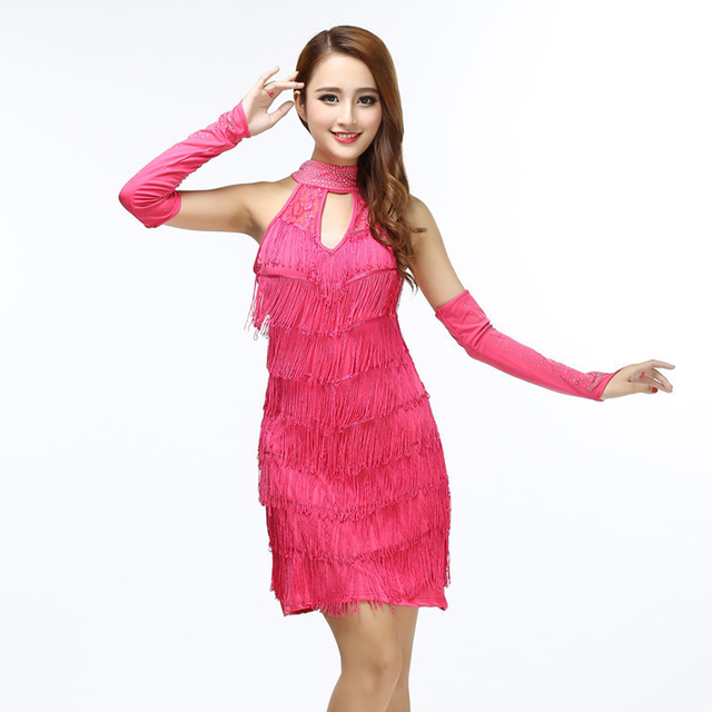 Halter dress with fringe in fuchsia