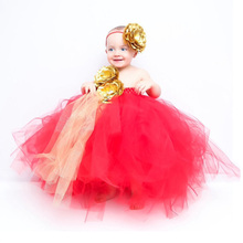 купить Red Girls Clothing Christmas Dress Gold Flower One Shoulder Ankle Length Tutu Dress Kids Masquerade Dresses Girls Ball Gowns 14Y онлайн