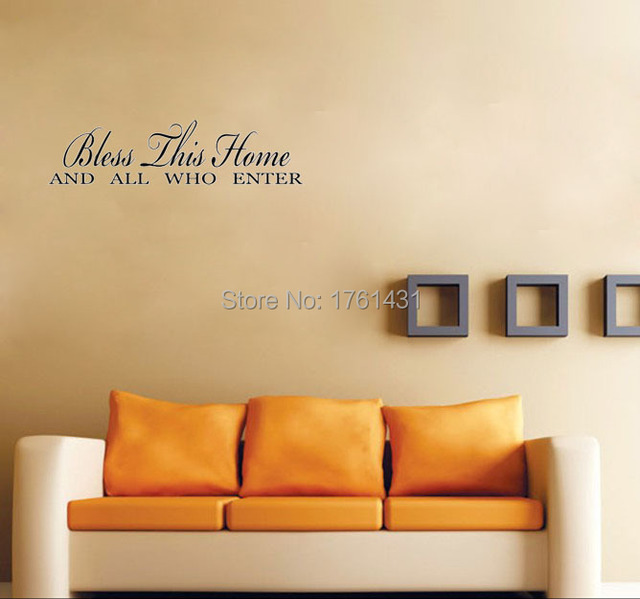BLESS THIS HOME AND ALL WHO ENTER home decoration wall art vinyl ...