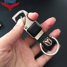 Топ кожаный брелок для ключей металлический ключ для авто кольцо универсальный инструмент ключ держатель светодиодная Бутылка открывалка брелок для Dodge стайлинга автомобилей