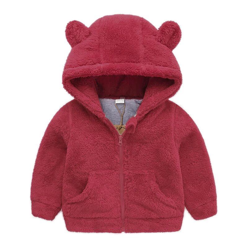 С капюшоном куртка на молнии для мальчиков и девочек флисовая зимнее теплое пальто с длинными рукавами для детей детский зимний комбинезон,...