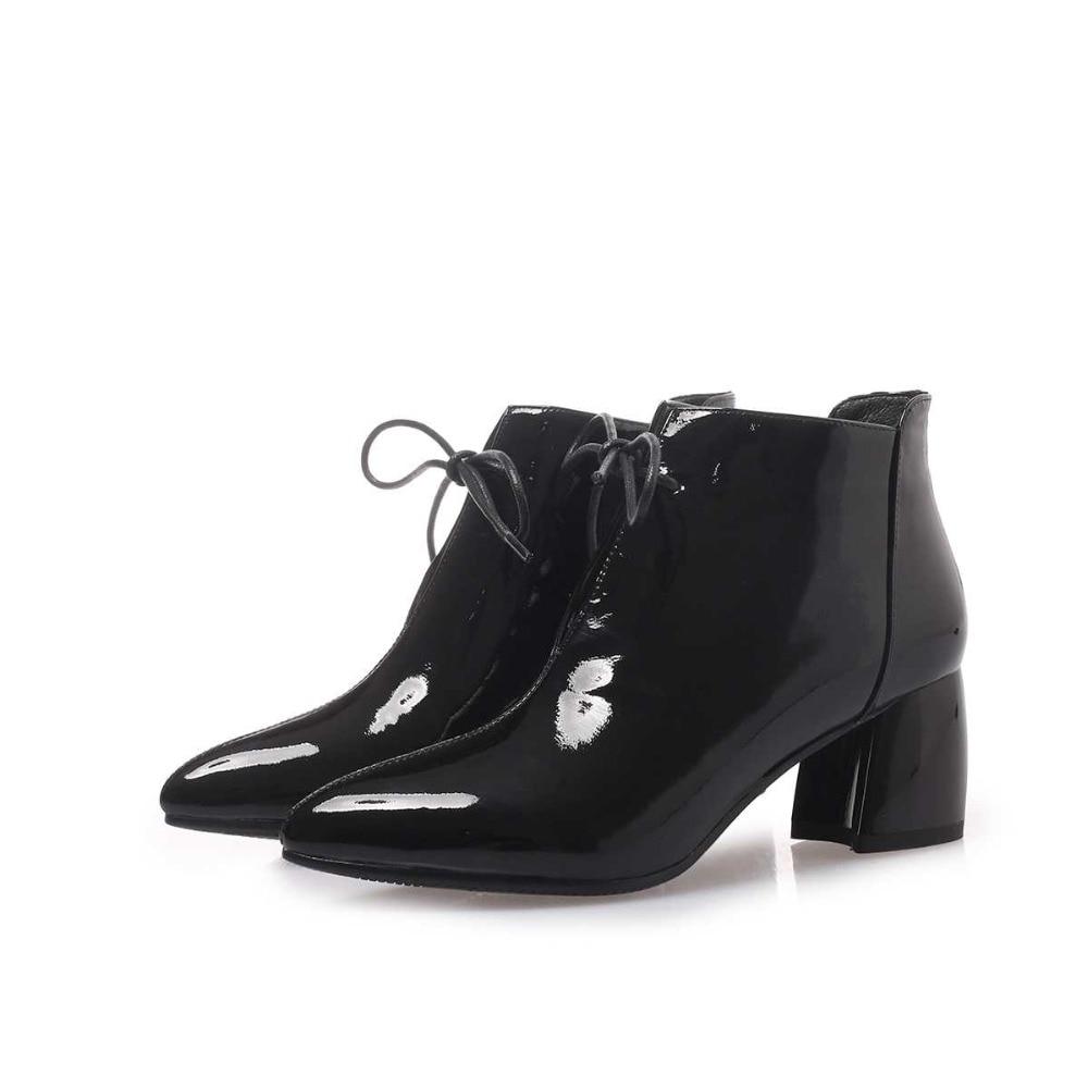 D'hiver Chaussures Élégante Garder Marque Concis brown Bout L59 Lacent Vache Mode Cuir Femmes Au Pointu Noir Cheville Superstar 2019 Bottes Chaud En x86zzP
