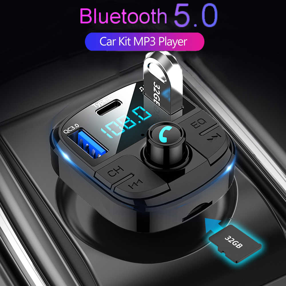 JINSERTA, el más reciente, Bluetooth 5,0, transmisor FM de coche QC3.0, cargador rápido, modulador FM tipo c, memoria USB TF, reproductor MP3 de música para coche