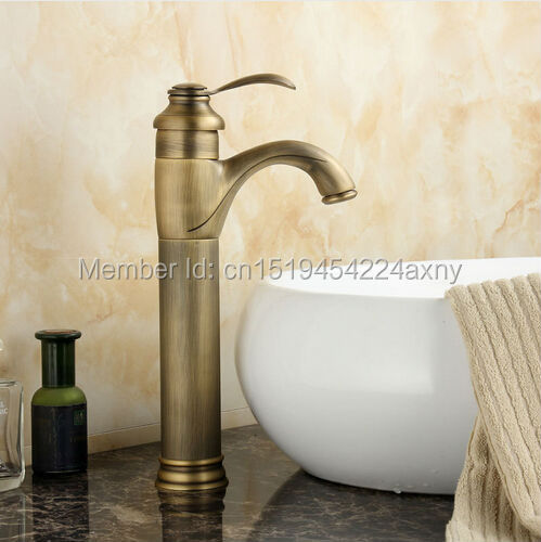 Gizero Newly Antique Brass Bathroom Basin Faucet Countertop Mixer Tap Hot Cold Faucet Classic Style Single