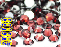 Czerwony Kolor Kawy 2mm, 3mm, 4mm, 5mm, 6mm Aspekty Mieszkanie Powrót żywica Rhinestone Gems Nail Art Decoration