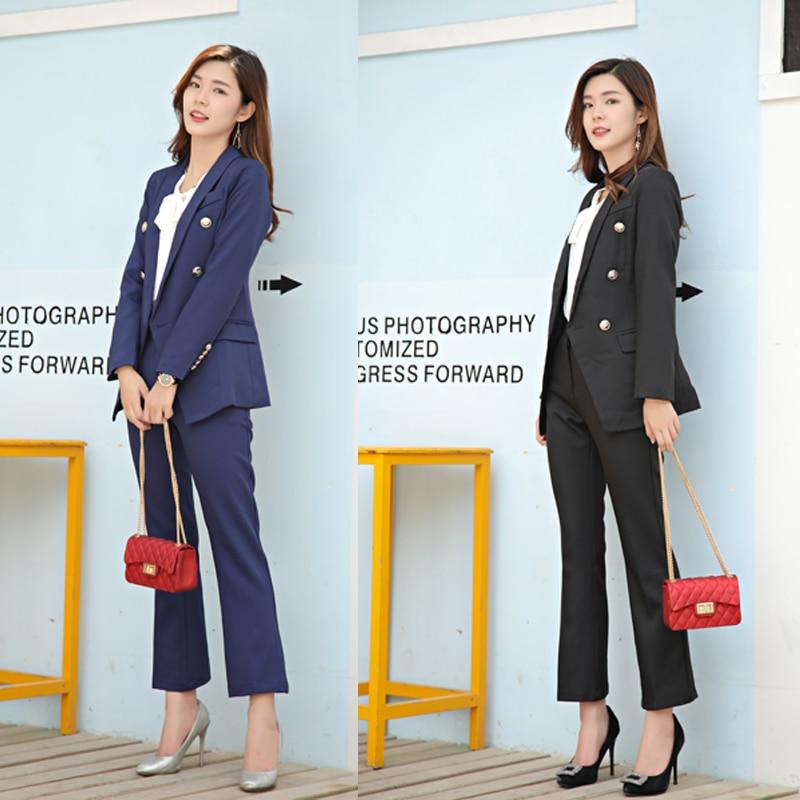 Lady Boutonnage De Travail Ensemble À Office Vêtements Blazer Mode Costume D'affaires Costumes Femmes Noir Double Mince Pour Bleu marine Un Ol Avec Pantalon qCfOWw