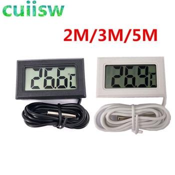 1PCS Mini LCD Digital Thermometer indoor outdoor 2M/3M/5M Meters with remote sensor for car 1pcs mini lcd digital thermometer for fridges freezers coolers aquarium chillers mini 1m probe black