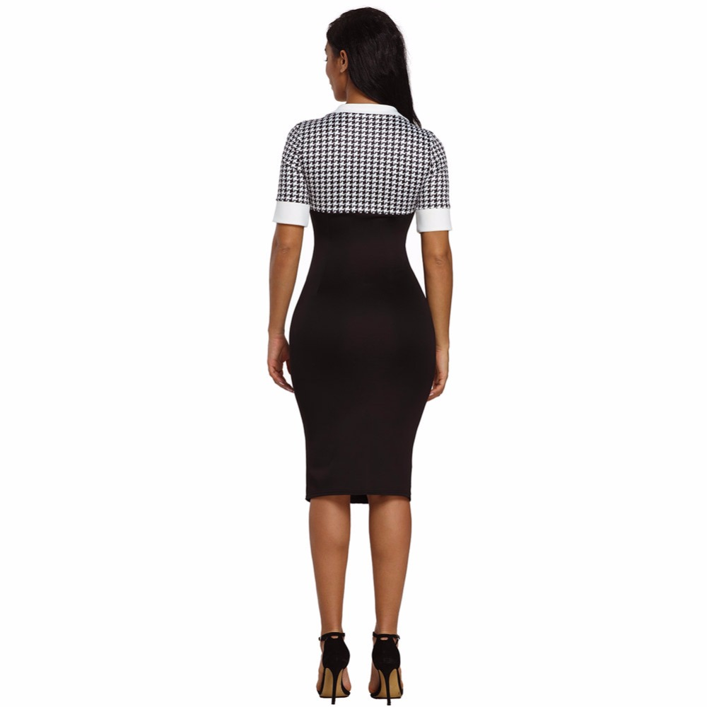 YI RAN SHI NI The new fashionable canine tooth pattern piece together sexy V collar short sleeve to repair the buttock dress