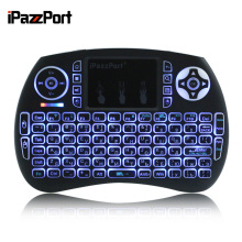 IPazzPort Mini 2.4 GHz Teclado QWERTY Inalámbrico Portátil de Mano con el Touchpad y el Contraluz para PC/Smart TV/Android TV Box
