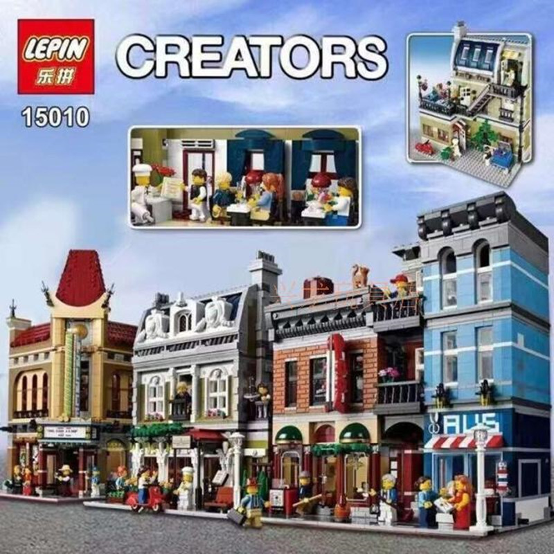 2418PCS DHL Lepin 15010 Creator Expert City Street Parisian Restaurant Model Building Kits Block Toy Compatible 10243 new lepin 15010 expert city street parisian restaurant model building kits blocks funny children toys compatible with 10243 gift