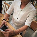 Сексуальная Рубашка Плюс размер 4xl 5Xl Белый Хаки Флота Низким U Форма шеи Сплошной Цвет Повседневная Рубашка Сорочка Homme Пром Sexy рубашка