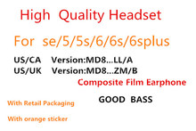 цена на 10pcs/with retail packing AAAA+ Quality headset in ear headphones With Remote line Mic for phone 5s 6 6S plus