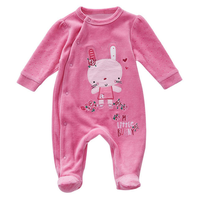 247b669d2 Newborn Baby Girl Long Sleeve Cotton Footies Infant Toddler Girls  One-Pieces Cute Rabbit Fleece Onesie Pink footies Clothes