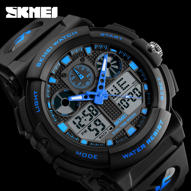 SKMEI Men Sports Watches Quartz Digital LED Electronic Dual Display Wristwatches Clock Watwrproof Relogio Masculino Relojes 1270