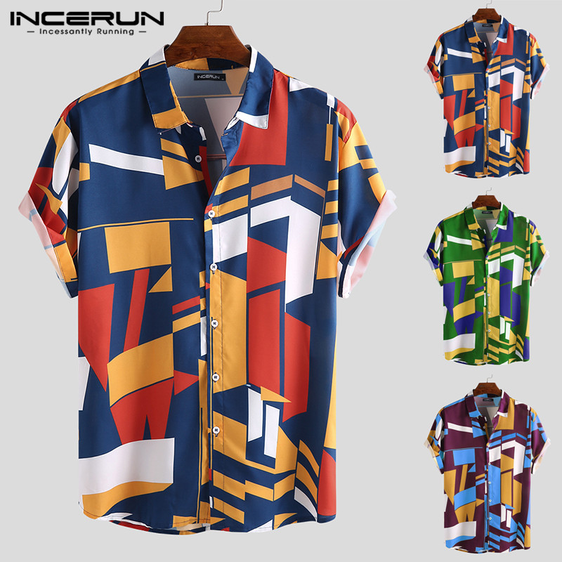INCERUN Summer Men Beach Shirt Geometric Print Short Sleeve Lapel Neck Button Leisure Hawaiian Shirts Men 2020 Streetwear S-5XL