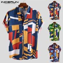 INCERUN Summer Men Beach Shirt Geometric Print Short Sleeve Lapel Neck Button Le