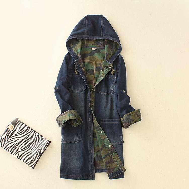 Denim jacket coat women in the long section Slim was large size women s hooded camouflage windbreaker women s jackets