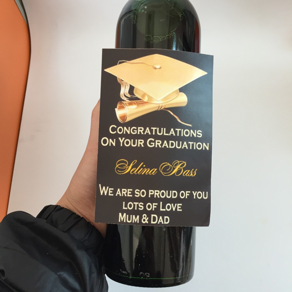 personalized graduation congrats celebrate party wine