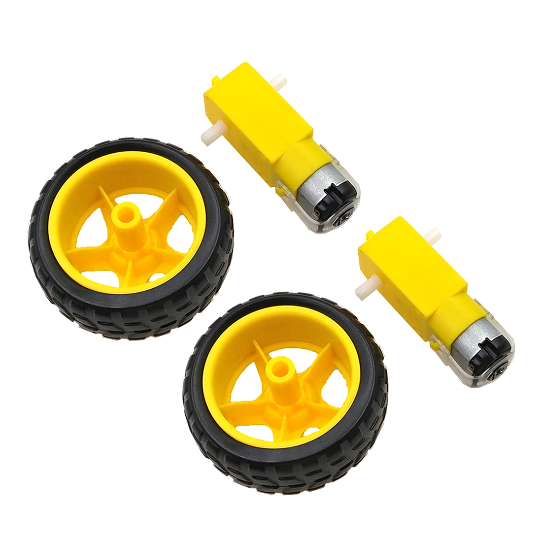 2Pcs Small Smart Car Tyres Wheel Robot Chassis Kit With DC Speed Reduction Motor Programmable Toy Part For Kids Student