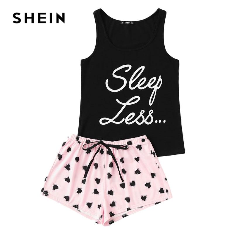 SHEIN Letter Print Top & Drawstring Waist Shorts Pajama Set Women  Sleeveless Drawstring Preppy Nightwear 2018 Casual Sleepwear-in Pajama Sets  from Underwear ...