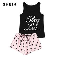 SHEIN Letter Print Top Drawstring Waist Shorts Pajama Set Women Sleeveless Drawstring Preppy Nightwear 2018 Casual Sleepwear