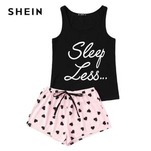 Image 2 - SHEIN Letter Print Top Drawstring Waist Shorts Pajama Set Women Sleeveless Drawstring Preppy Nightwear 2018 Casual Sleepwear