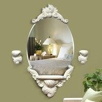 Free shipping Home Decor European Wall Mirror with shelf for bathroom or bedroom elegant retro fashion White/Gold decorative