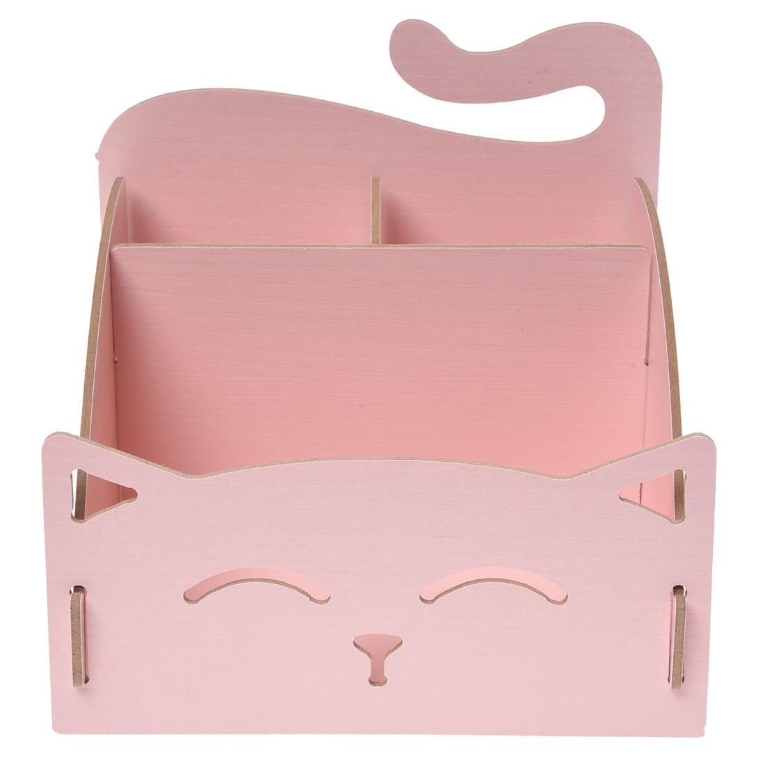 Best Wooden Box Cute Cat Pen Box Desktop Storage Assembly DIY Wood Makeup Organizer Cosmetics Storage Box 15.4*13*13.5cm (pink)