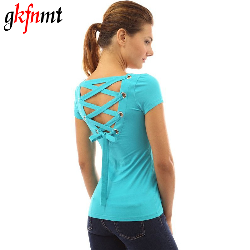 T Shirt Women Punk Tee Shirt Femme Woman Tops Sexy Backless Hollow Bandage 2017 Fashion Short