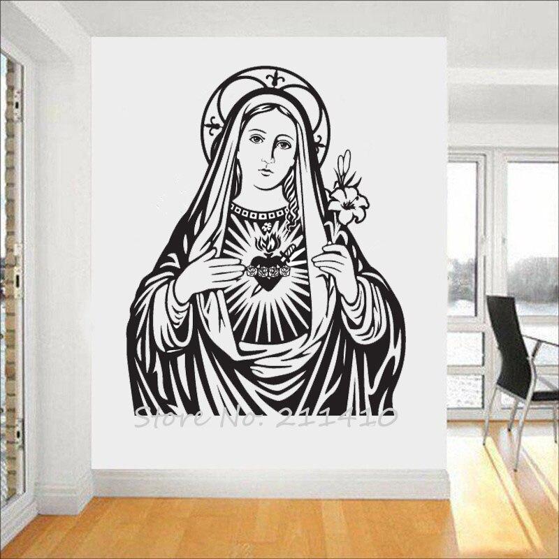 Le coeur de la vierge marie Sticker Mural décor à la maison salon classique église catholique Sticker Mural Adesivo de parede Mural A712