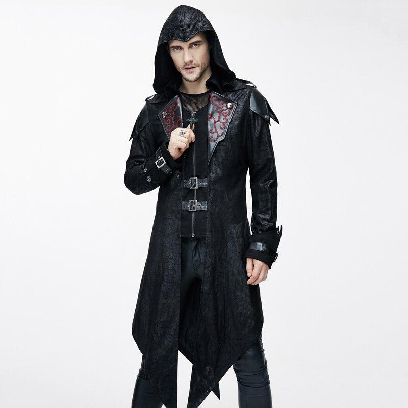 Дьявол модные панк Куртки для Для мужчин Готический благородный Махаон пальто стимпанк осень зима пальто с капюшоном красивый пальто