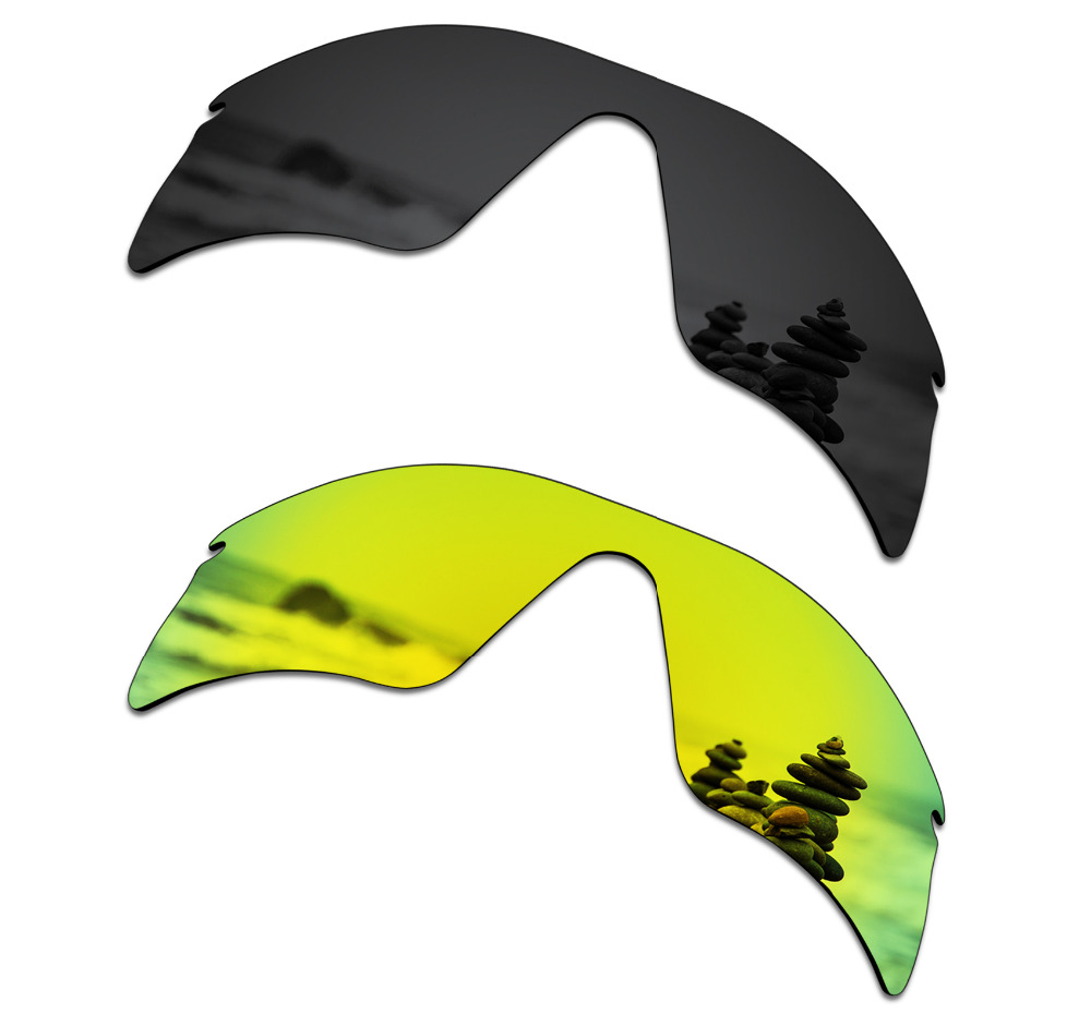SmartVLT 2 Pieces Polarized Sunglasses Replacement Lenses for Oakley Radar Range Stealth Black and 24K Gold