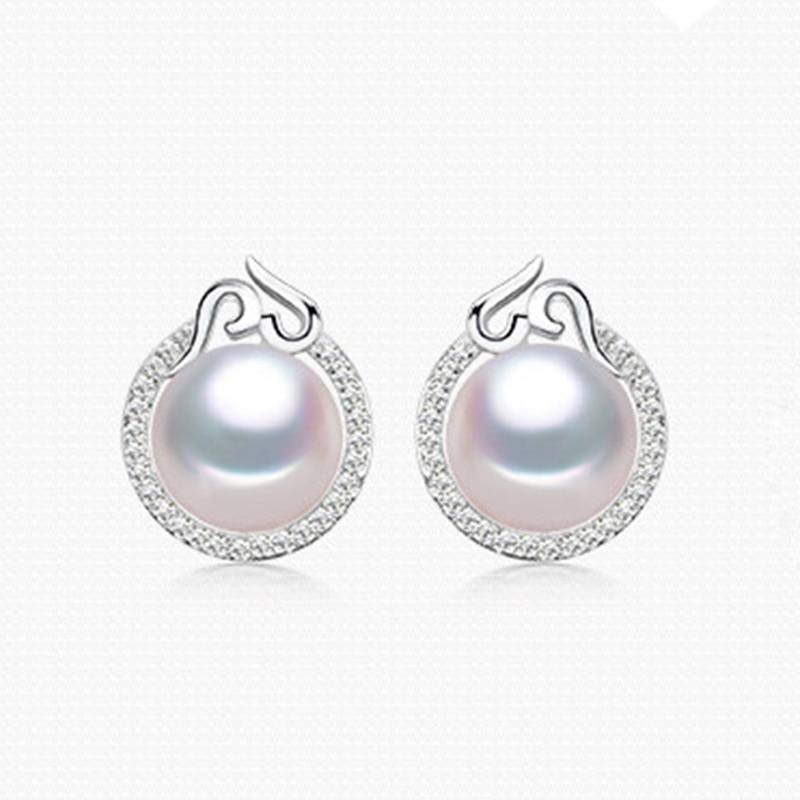 RUNZHUQIYUAN 2017 100% boucles d'oreilles en perles d'eau douce naturelles 925 bijoux en argent Sterling zircon pour les femmes pour les filles meilleur cadeau