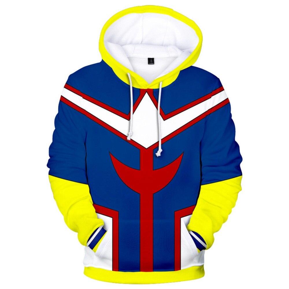 My Hero Academia Hoodie Boku no Hero Academia All Might Cosplay Hoodie 3D Printed Sweatshirt Long-Sleeve Hooded Hoodie