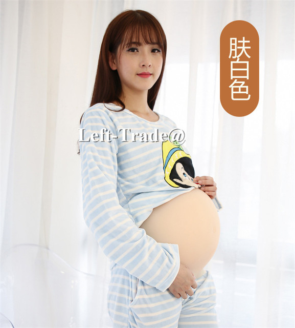 8~10 months new seamless one piece silicone baby bump fake beer belly for crossdress drag queen