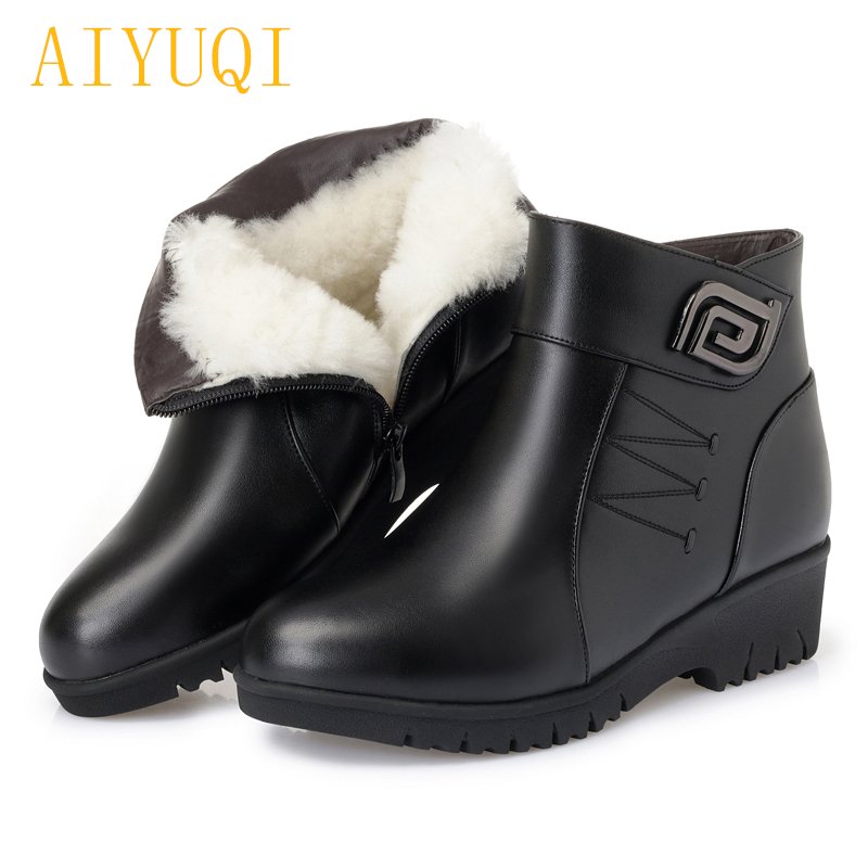 AIYUQI Women booties 2018 new genuine leather female snow boots wool warm, big size 35-43 flat mother boots, winter shoes lady aiyuqi big size 42 100% natural genuine leather female flat shoes 2018 spring new ladies shoes comfortable nurse shoes female