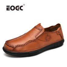 Fashion Style Natural Leather Casual Shoes Men Handmade Vintage Loafers Moccasins Slip On Driving Shoes Flats цена