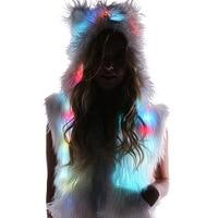 Women Halloween Christmas LED Faux Fox Fur Vest