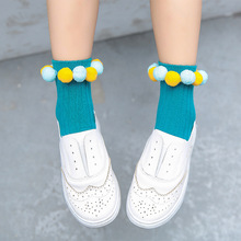 6697fbc779933 New Girls Cotton Socks Solid Color Creative Pom Pom Onion Rings Handmade  Sewing Fashion Socks For