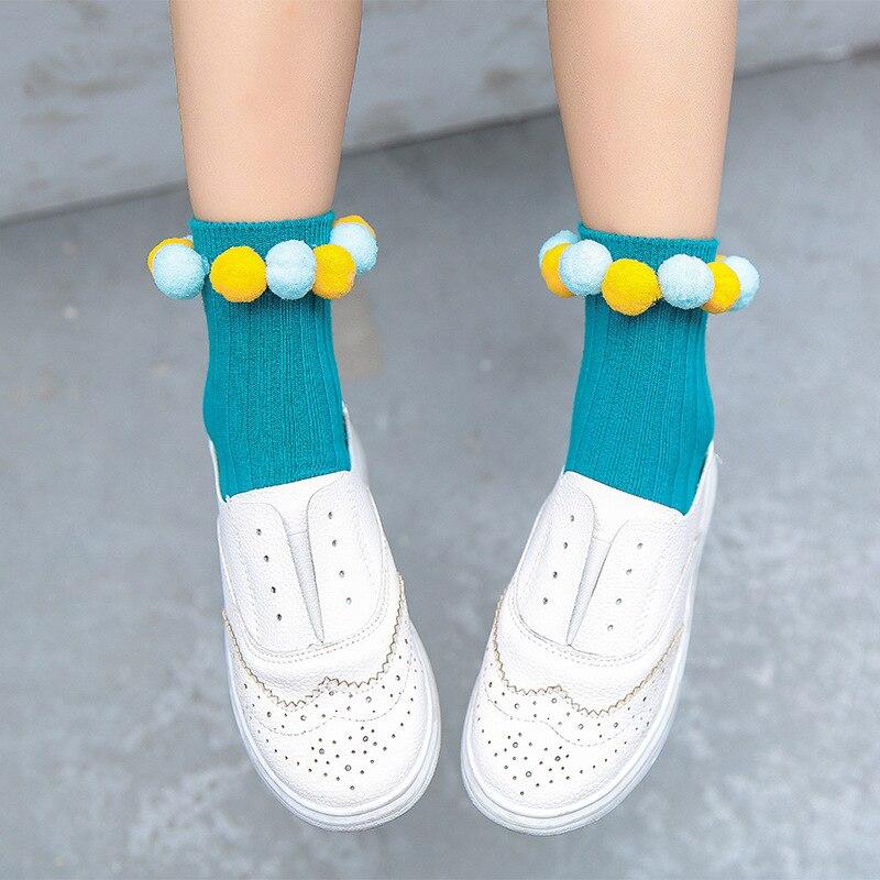 New Girls Cotton Socks Solid Color Creative Pom Pom Onion Rings Handmade Sewing Fashion Socks For Children