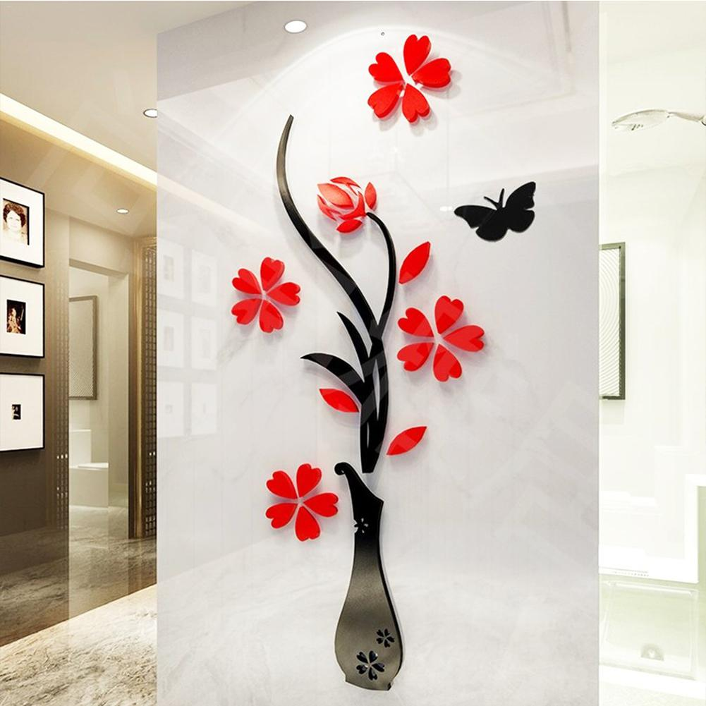 Home Decor Art Tree Wall Sticker Removable Mural Decal: 3D Wall Stickers Arcylic DIY Vase Flower Tree Decal