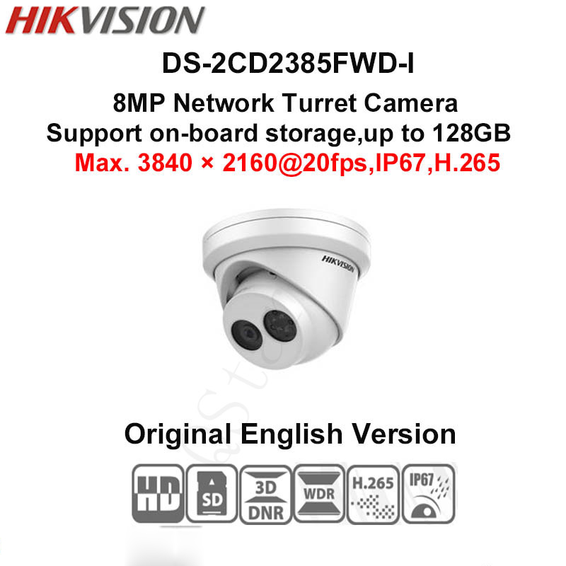 Hikvision English version DS-2CD2385FWD-I 8MP mini network turret CCTV security camera POE, 30M IR, H.265 dome ip camera free shipping ds 2cd2442fwd iw english version 4mp ir cube network cctv security camera mini wifi ip camera poe 10m ir