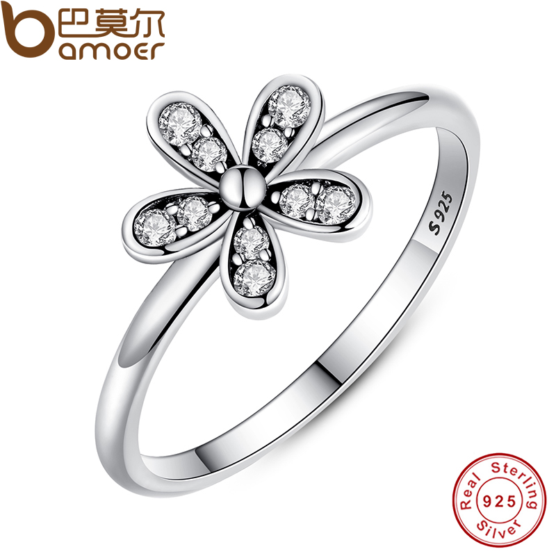 BAMOER Two Colors Fashion Elegant Original 925 Sterling Silver Dazzling Daisy Flower Ring Clear CZ Wedding Jewelry PA7123