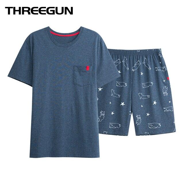 THREEGUN Брендовые мужские сексуальные пижамы Повседневное Домашняя одежда мужские шорты сна пижамный комплект хлопковые топы футболка и шорты pijama hombre