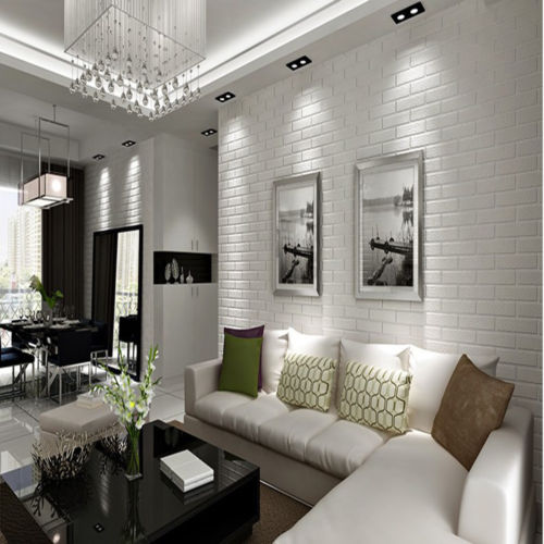 10 White Rustic Rooms: Q QIHANG Modern Thickening White Brick Walls Rustic