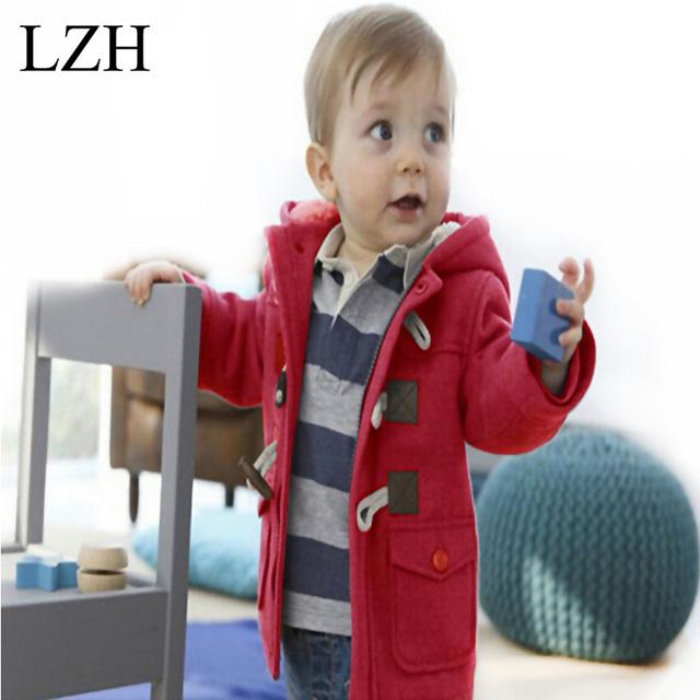 LZH Niños Ropa 2016 Nuevos Niños Otoño Invierno Abrigos Niños chaquetas Chicas ropa de Abrigo abrigo Niños Cálido Abrigo de Lana Con Capucha para Bebé chaqueta