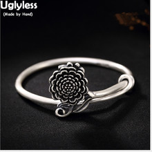 4478b2ce9065 Feo Real S 999 plata fina joyería Vintage vulcanizados negro tailandés  brazaletes de plata las mujeres