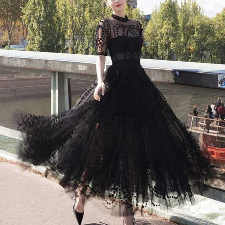 Runway Women Mesh Ball Gown Party Long Dress 2019 Spring Sexy Black Ball Half Sleeve Slim
