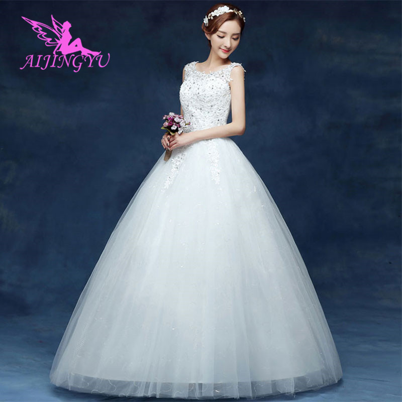 AIJINGYU 2018 Marriage Free Shipping New Hot Selling Cheap Ball Gown Lace Up Back Formal Bride Dresses Wedding Dress WK496