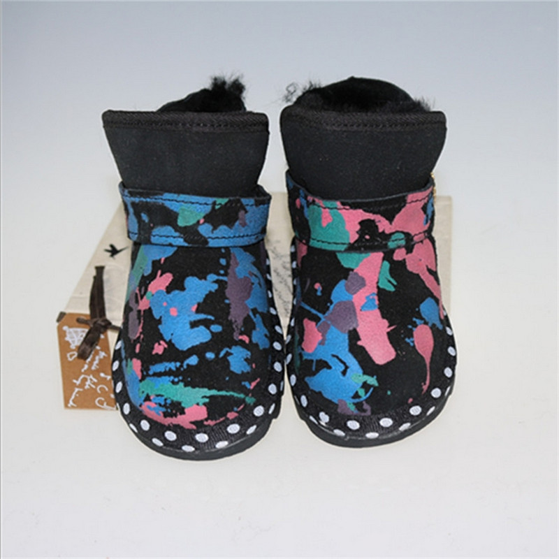 2017 Autumn and Winter Children's Fur Shoes Baby Girls Flat Warm Snow Boots with Fringe Baby Hige Quality Cow Muscle The sole